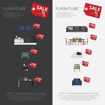 Banner meubels uitverkoop advertentie flayers