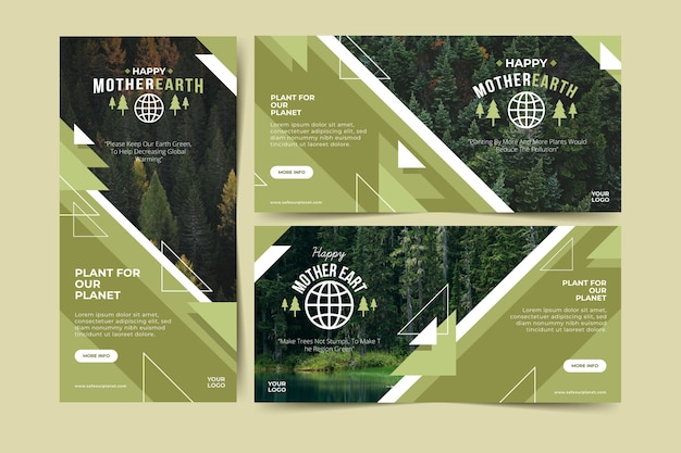 Banner moeder aarde dag in plat ontwerp