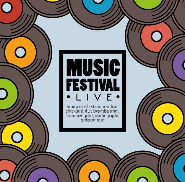 Banner muziekfestival live Premium Vector