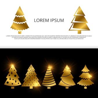 Banner of flyer met gouden kerstboom pictogrammen