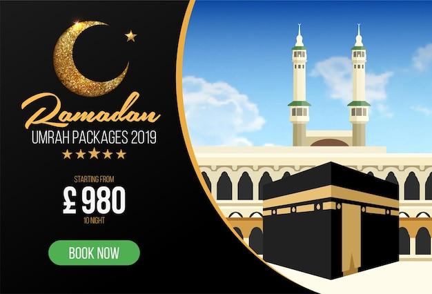 Banner- of flyerontwerp voor umrah-pakketadvertenties, boek goedkope ramadan umrah-pakketten