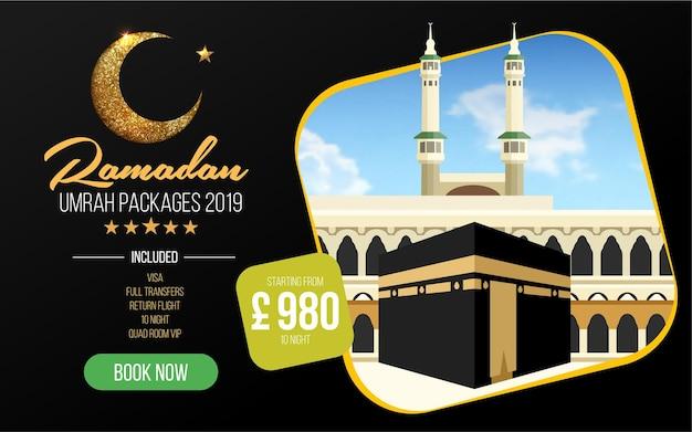 Banner- of flyerontwerp voor umrah-pakketten advertenties boek goedkope ramadan umrah-pakketten