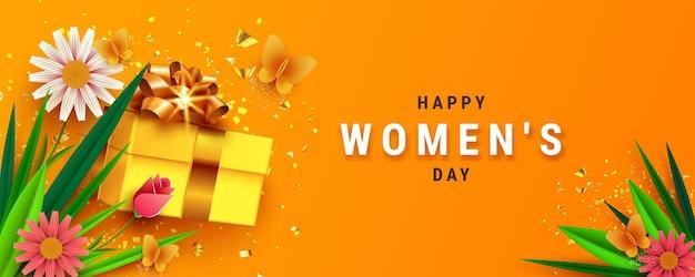 Banner of wenskaart voor internationale vrouwendag, met mooie bloem, vlinder en geschenkdoos