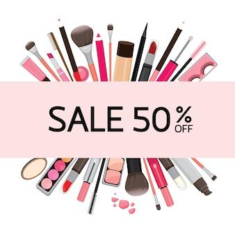 Banner op verkoop van cosmetica voor make-up