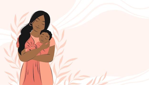 Banner over zwangerschap en moederschap afro-amerikaanse vrouw houdt pasgeboren baby vast