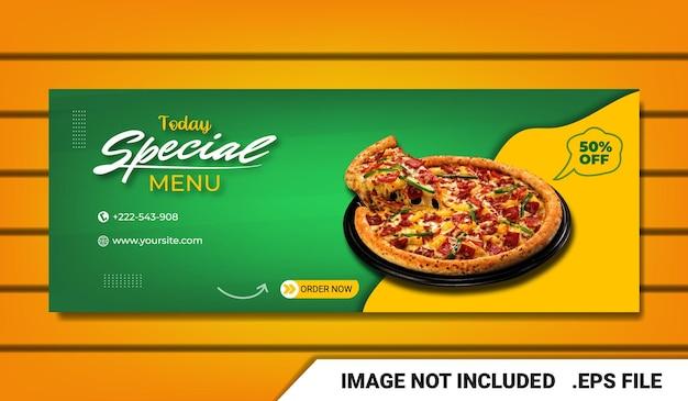 Banner pizza fanpagina facebook voorbladsjabloon