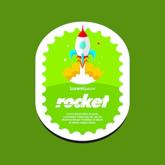 Banner. rocket vectorillustratie. cartoon stijl