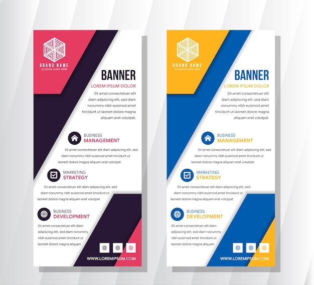 Banner roll-up, blauw oranje en roze paars grafische sjabloon
