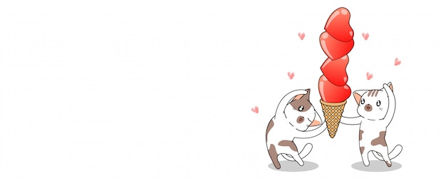 Banner schattige katten houden harten ijsje