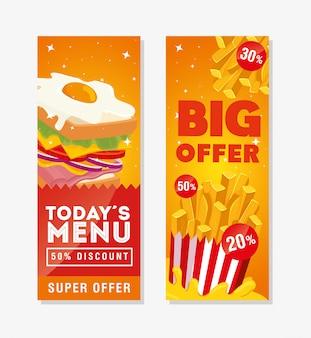 Banner set aanbod heerlijke fastfood