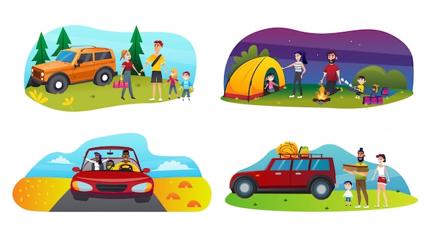 Banner set family trip met kinderen cartoon flat.