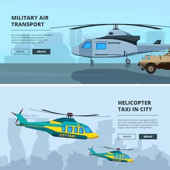 Banner set met helikopters, van horizontale banner set met helikopters