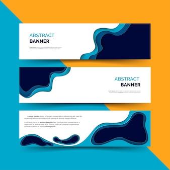 Banner set met papier gesneden vormen
