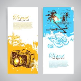 Banner set reizen kleurrijke tropische splash achtergronden. vakantiebanners met handgetekende schetsillustraties