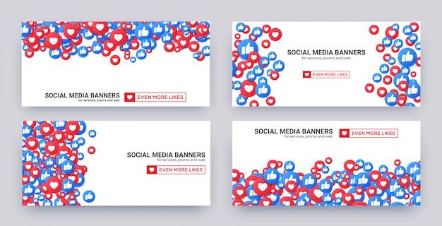 Banner set van soortgelijke harten en duim omhoog pictogrammen voor sociale media.