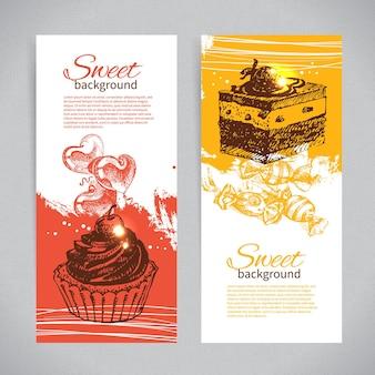 Banner set vintage hand getrokken zoete achtergronden. menu voor restaurant en café