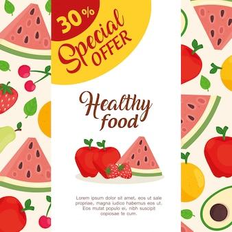 Banner speciale aanbieding van groenten en fruit, dertig procent korting