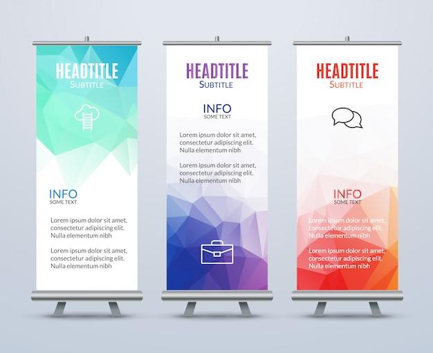 Banner staan ontwerpsjabloon met abstracte geometrische achtergrond. promotionele sjabloon