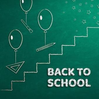 Banner terug naar school schoolbenodigdheden en ladder naar succes