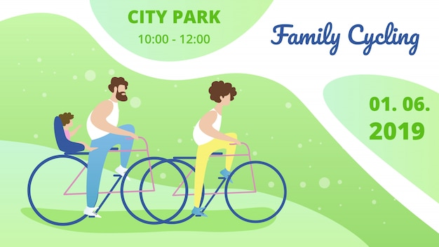Banner to have fun park family cycling