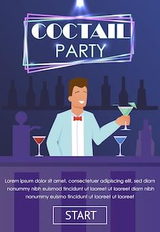 Banner uitnodigend voor cocktail party in nachtclub