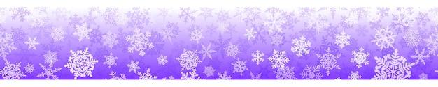 Banner van complexe kerstsneeuwvlokken met naadloze horizontale herhaling, in paarse kleuren. winterachtergrond met vallende sneeuw