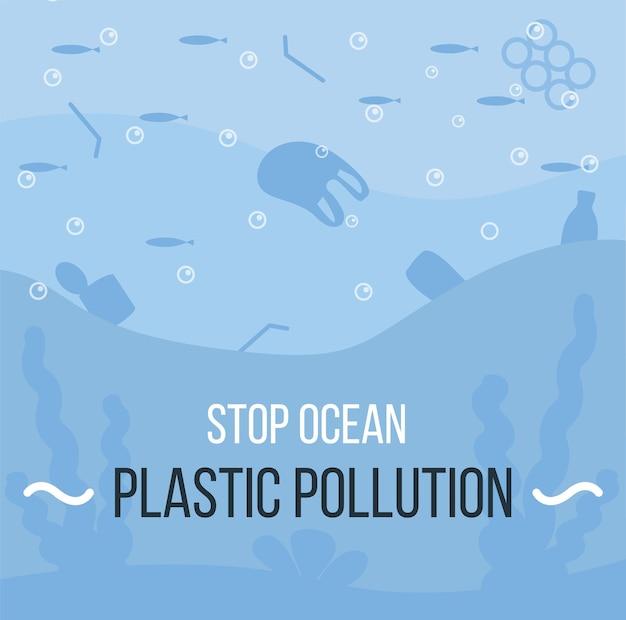 Banner van covid-afvalafval in de oceaan medisch afval na covid-pandemie plasticvervuiling