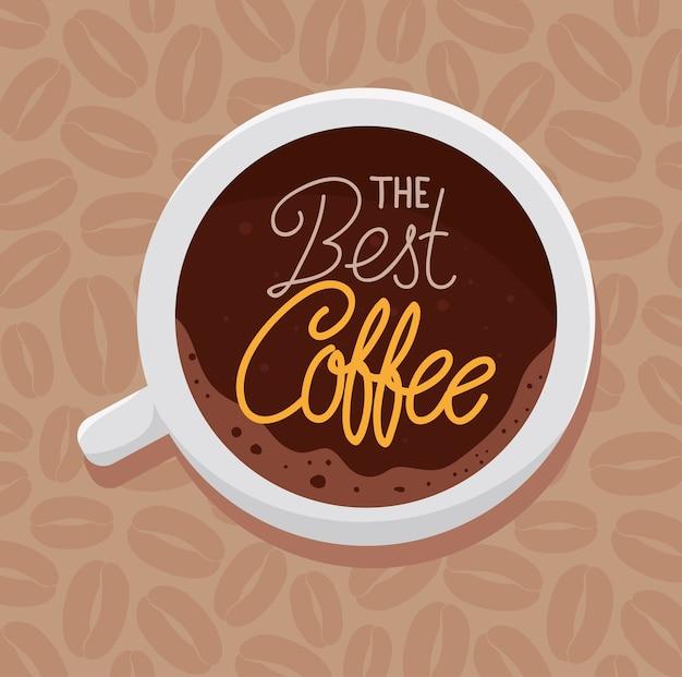 Banner van de beste koffie met uitzicht antenne van keramische beker afbeelding ontwerp