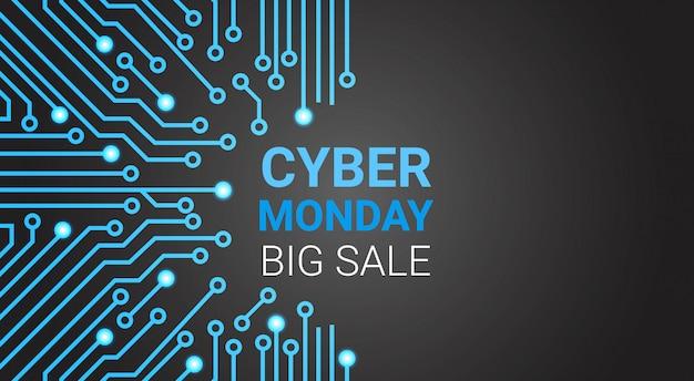 Banner van de cybermaandag de grote verkoop over kring, speciale korting voor technologie het winkelen concept
