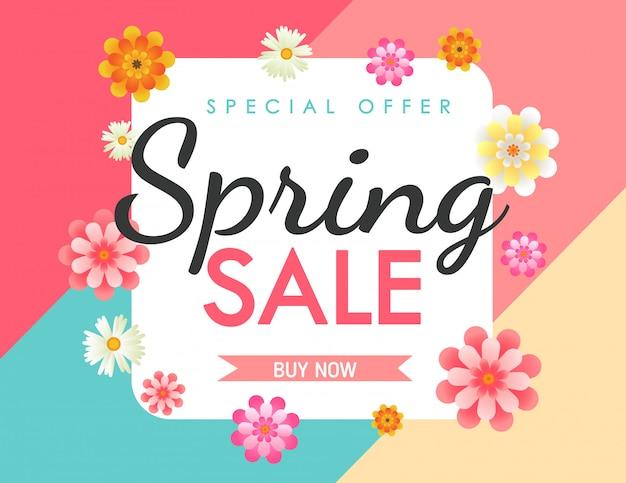 Banner van de de lente de kleurrijke verkoop