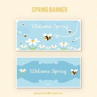 Banner van de lente met bijen