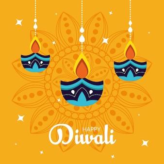 Banner van diwali festivalvakantie met kaarsen hangen en mandala op achtergrond.