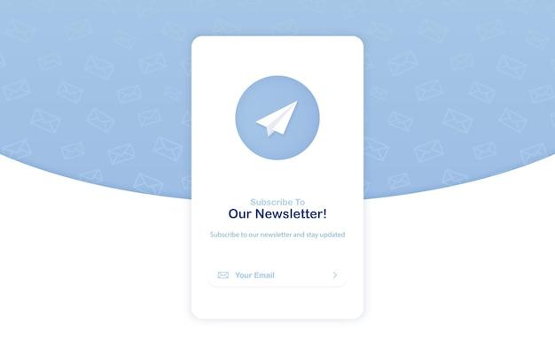 Banner van e-mailmarketing voor abonnement op nieuwsbrief