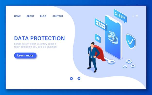 Banner van een mobiele applicatie voor het beschermen van gebruikersgegevens tegen indringers en virusaanvallen, plat isometrisch
