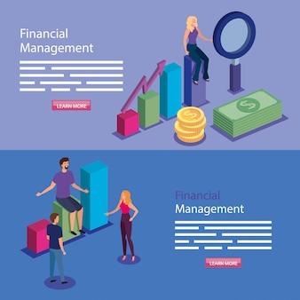 Banner van financieel beheer met mensen