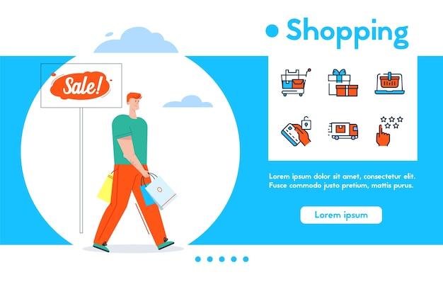 Banner van glimlachende man houdt veel aankopen pakketten, verkoop detailhandel, uitverkocht. kleur lineaire icon set - supermarkt trolley, kortingen cadeau, online winkelen, feedback, levering, tevreden klant