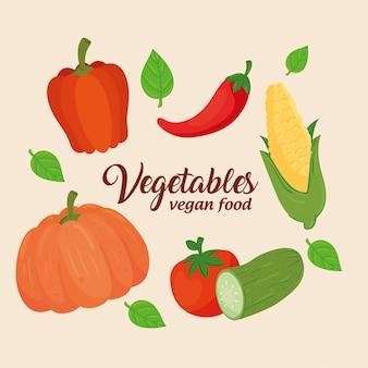 Banner van groenten, concept gezond voedsel