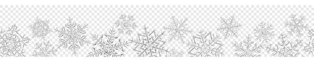 Banner van grote complexe doorschijnende kerst sneeuwvlokken in grijze kleuren, geïsoleerd op transparante achtergrond. met naadloze horizontale herhaling. transparantie alleen in vectorformaat
