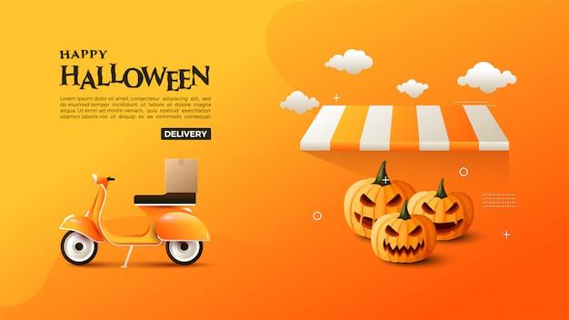 Banner van halloween verkoop met pompoen en vespa.