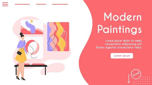 Banner van het concept van moderne schilderijen.