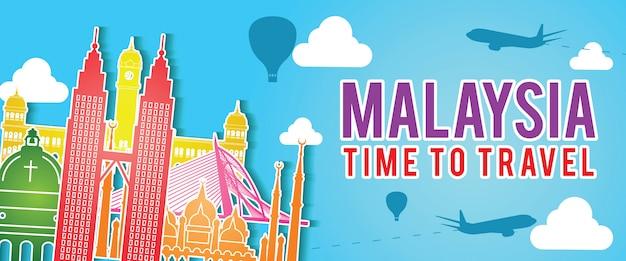 Banner van het oriëntatiepuntsilhouet van maleisië