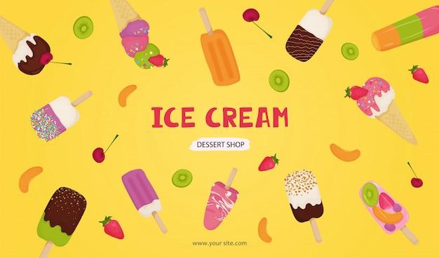 Banner van ijs met chocolade, fruit, noten, pistachenoten, aardbeien, kersen, kiwi, sinaasappel.