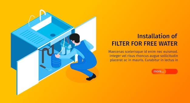 Banner van isometrische installatie van waterfilter