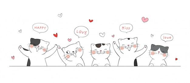 Banner van katten voor valentijnsdag