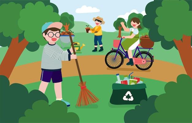 Banner van kinderen helpen bij het planten van bomen en het verzamelen van plastic flessen in het natuurpark op de dag van de gelukkige aarde in stripfiguur