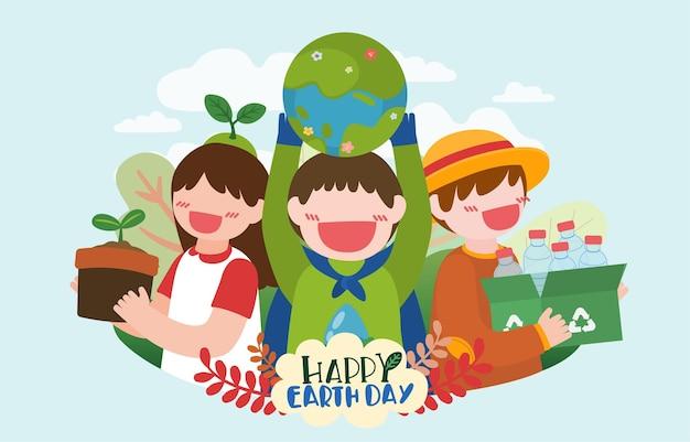 Banner van kinderen helpen bij het planten van bomen en het verzamelen van plastic flessen op de dag van de gelukkige aarde in stripfiguur