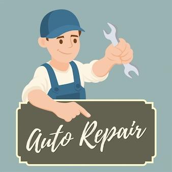 Banner van mechanic met een moersleutel