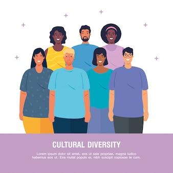 Banner van multi-etnische jongeren samen, cultureel en diversiteitsconcept