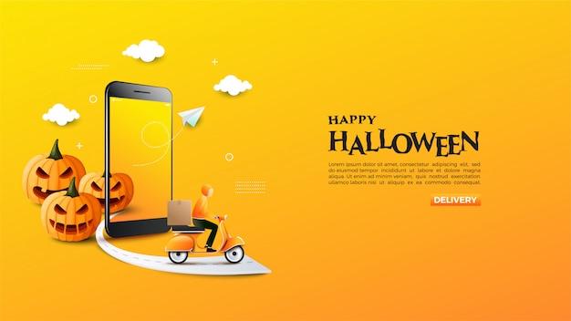 Banner van online winkel met illustratie van halloween