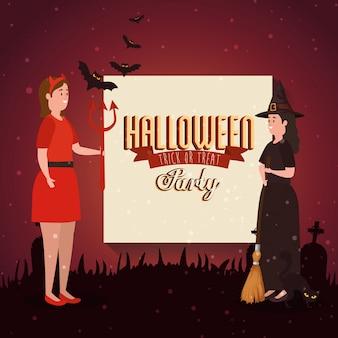 Banner van partij halloween met vermomde vrouwen